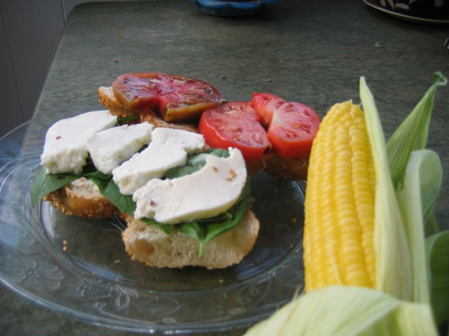Tomato, basil, mozarella sandwich with a side of corn