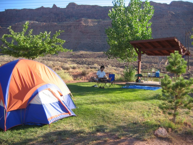 Moab campsite -- No, it is not normal to have grass like that in the desert