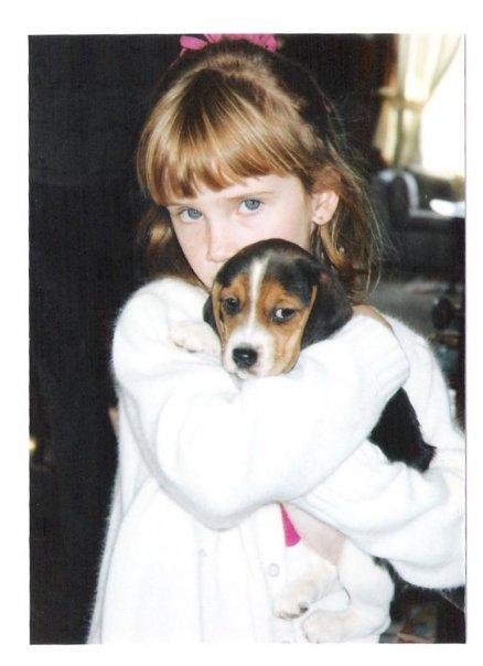 Sis and beagle pup